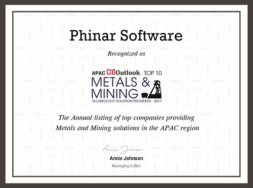 Phinar Software Top 10 Metals & Mining Certificate